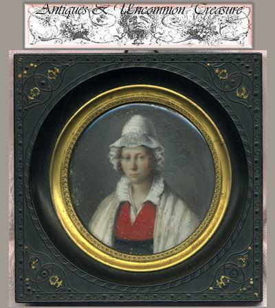 Superb Hand Painted 1820s French Portrait Miniature, Gutta Percha Frame