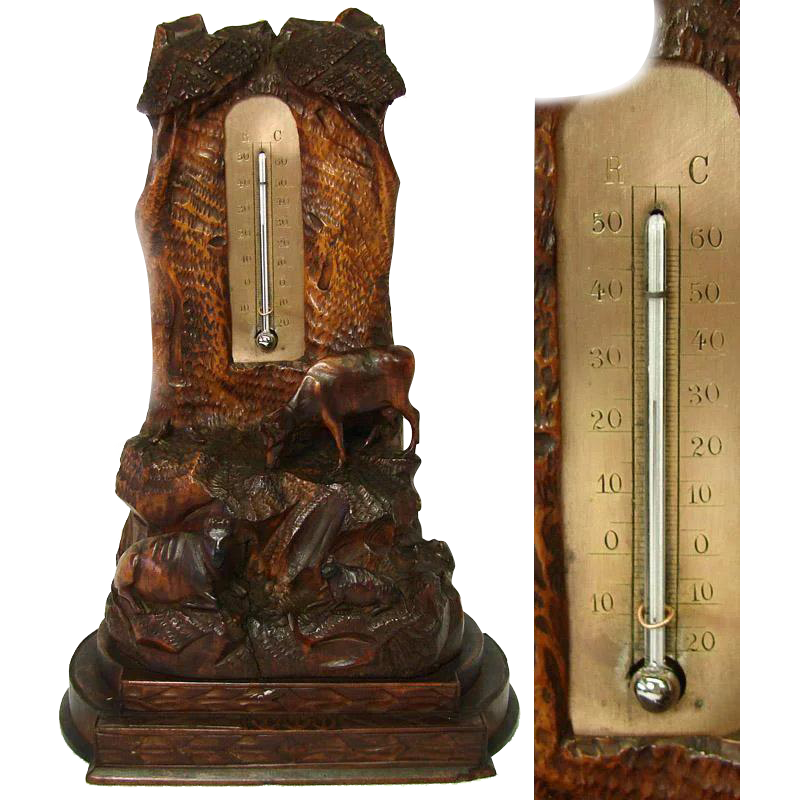 Antique Black Forest Desk Thermometer, Rare Cow Figures