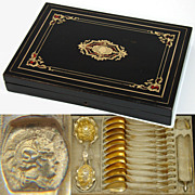 """Antique French 15pc Vermeil Tea Set in 12"""" Boulle Inlay Box!  12 Teaspoons with Tongs, Strainer & Scoop"""