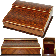 "Antique Napoleon III Marquetry Inlay 13"" Ecritoire, Lap Desk or Writer's Box, ""Tumbling Blocks"""