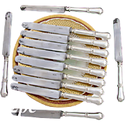 "Elegant Antique French 12pc .800 Silver 10"" Dinner Knife Set: Gordion Knot pattern, 1877-1899"