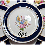 "Fine Antique SPODE Copeland Dinner Plates, 6 in Set - 10.5"" Cobalt, Gold, Hand Painted Floral Enamels"