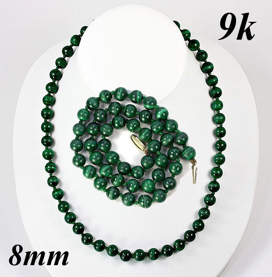Fine Vintage 9k Gold & 8mm Russian Malachite Necklace
