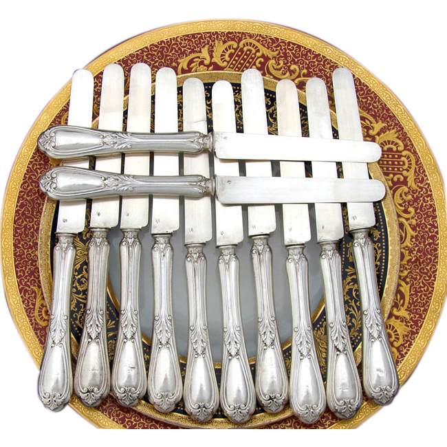 "Antique French Sterling Silver 12pc 8"" Knife Set, Acanthus"