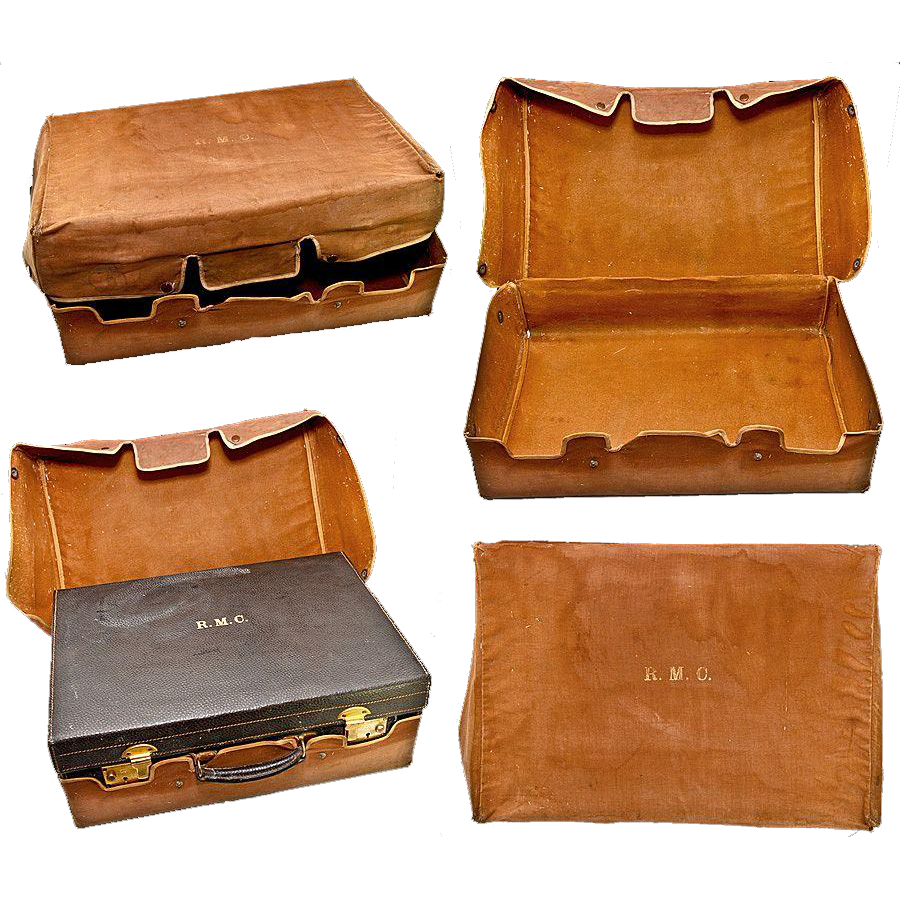 Antique Travel Valise, Suitcase, with Fitted Jars, Brushes, Mirrors of English Sterling and Tortoise Shell