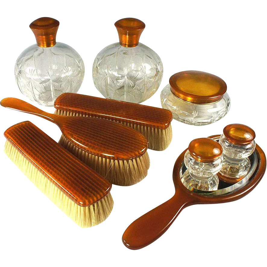 Antique 9 Pc. Vanity Set, Blond Faux Tortoise Shell - 5 Jars, Cologne, Brushes & Mirror - Tortoiseshell