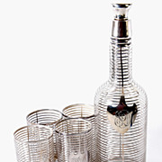 Antique American Heisey Glass & Sterling Silver Overlay Decanter & 4 Tumblers, Full Set