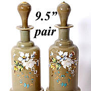 """Antique Pair (2) French Opaline Decanters, 9.5"""" Tall, Enameled in Floral against Tan Glass"""