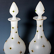 "Pair Antique French Jeweled Opaline 8"" Tall Decanters, Scent Bottles or Liqueur (2)"