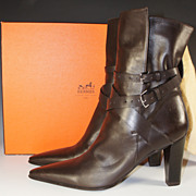 Barely Worn, HERMES Ankle Boots, Brown 40 US 9, Excellent in Box, With Dust Cover