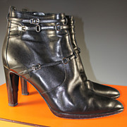 "Barely Worn, HERMES Ankle Boots, 40 or US 9 in Black With 3.5"" Heel."