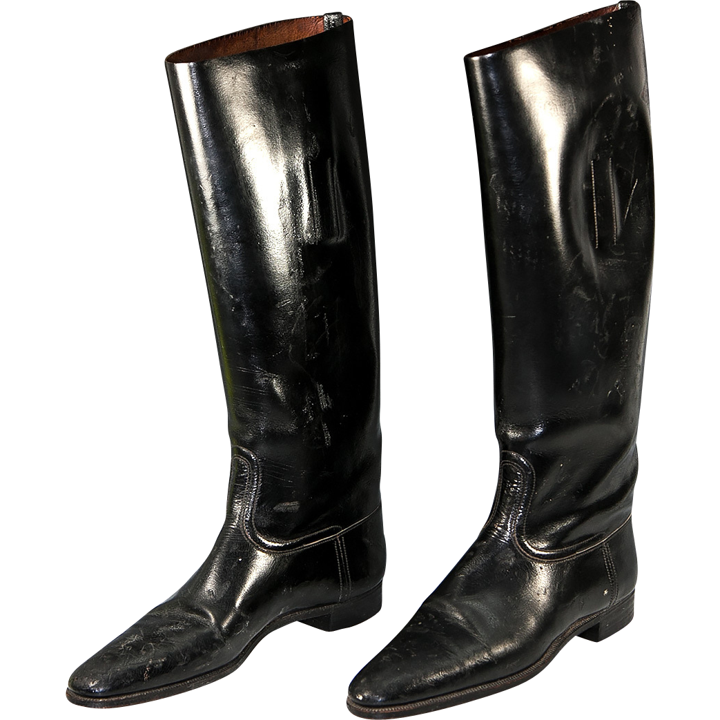 An Old Vintage to Antique Pair of English Riding Boots for Display ...