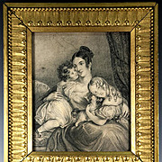 Fine Antique Pencil Drawing, Original Family Portrait of Mom with Young Girls, Dog c.1850s