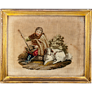 Antique Victorian or Georgian Era Needlepoint Needlework Tapestry in Gold Frame, Shepherd and Dog