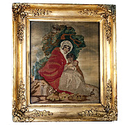 Antique Georgian Silk Work Embroidery Tapestry, Sampler, in Ornate Frame, 2 Girls