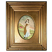 Antique Georgian Silk Work Embroidery Tapestry, Sampler, in Ornate Frame, Farm Girl