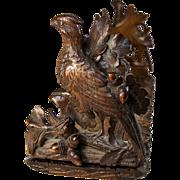 Antique Hand Carved Black Forest Book Rack, Acorns, Oak Leaves, Pheasant