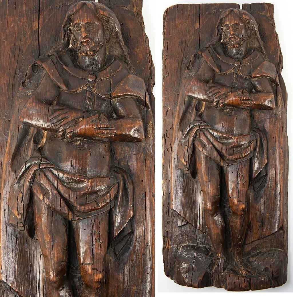 "Antique 1600s French Hand Carved Figure of Jesus Christ (?), 13"" x 6"" x 2"""