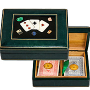 Vintage Italian Cards Box, Pietra Dura Playing Cards Plaque & Leather