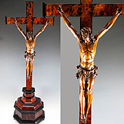 "RARE Antique French 1700s Hand Carved Christ on Altar Cross, 28.5"" tall. Figure is 11"" Tall"