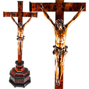 """RARE Antique French Crucifix 1700s Hand Carved Christ on Altar Cross, 28.5"""" tall. Figure is 11"""" Tall"""