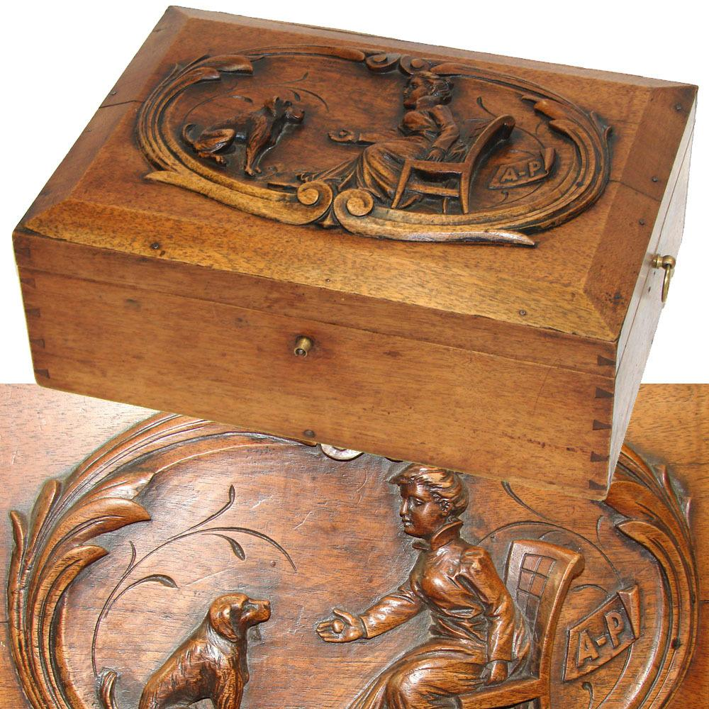 "LG Antique Victorian Era 14"" Jewelry or Sewing Box, Chest with Seated Woman & Dog Figural Carving"