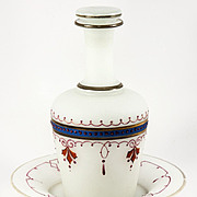 Antique French Liqueur Set, Decanter, Lid, Tray, Opaline Bonne Nuit