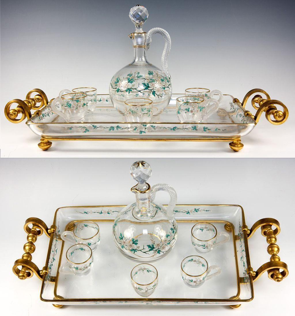 Fine Antique French Baccarat Liqueur Service, Decanter, Cups, Tray - Dore Bronze