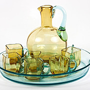 Antique French Liqueur Set, Decanter, 6 cups, Tray, Georges Sand