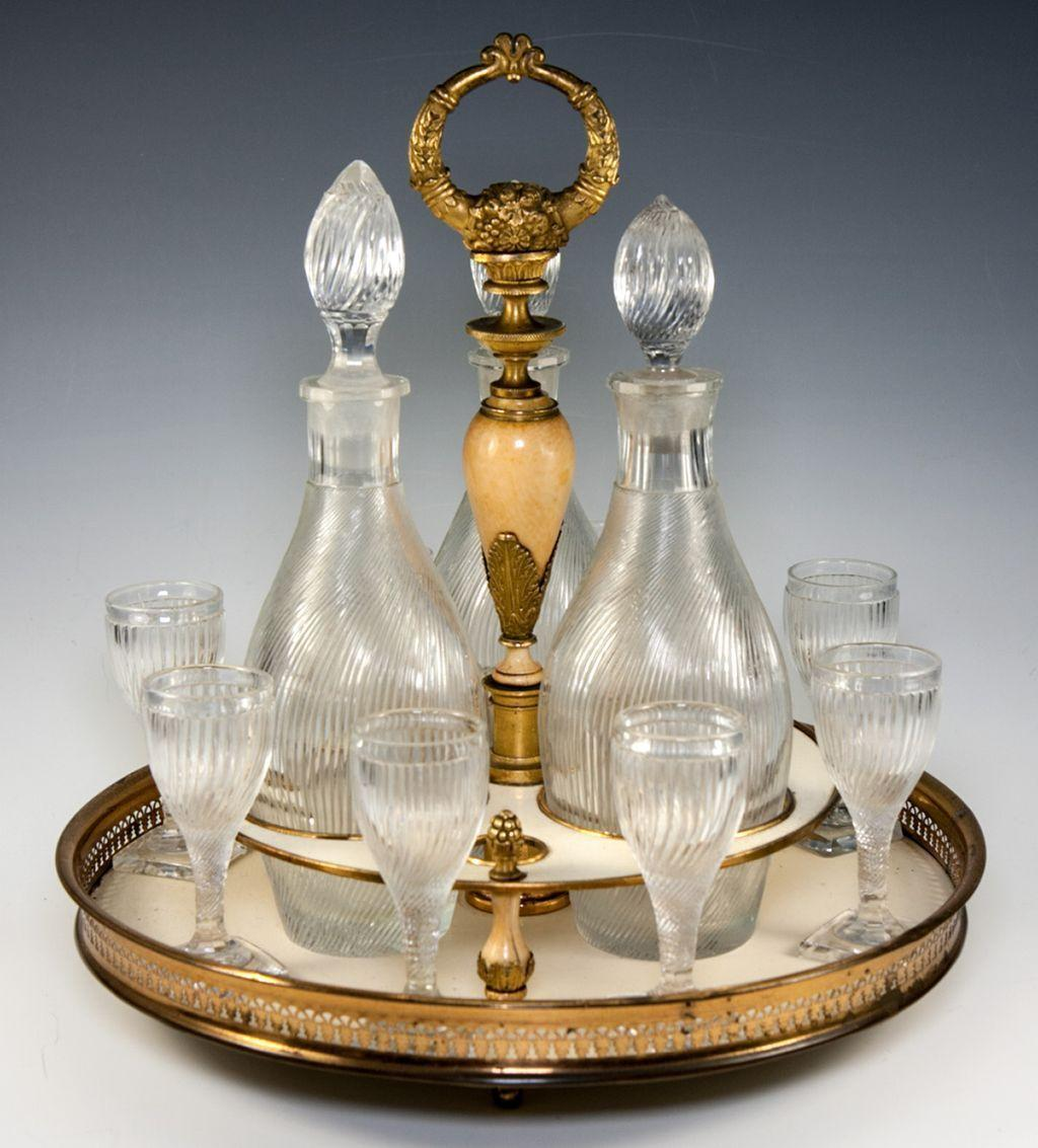 RARE Antique French Empire Liqueur Cabaret, Service with Baccarat Crystal Decanters, c.1790-1820