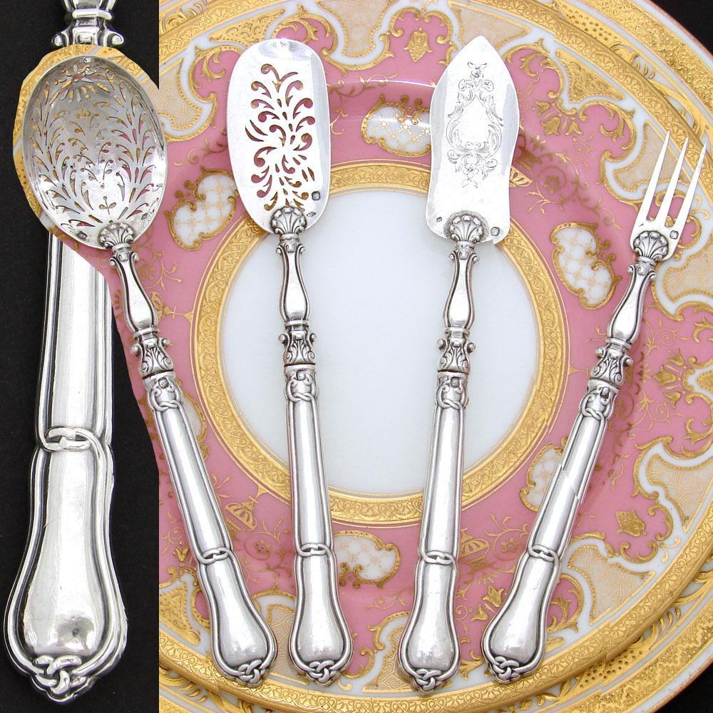 Fine Antique French Sterling Silver 4pc Hors d'Oeuvre Implement Set, Gordion Knot Pattern