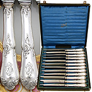 Superb Antique - Vint French Sterling Silver 12pc Dinner Knife Set, Louis XV Style