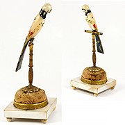 Antique French Hand Carved Mother of Pearl Hat Pin or Brooch and Ring Stand, Display, c. 1770 - A Painted Parrot