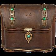 Antique Belle Epoch Stationery Caddy, Box, Vienna, Malachite