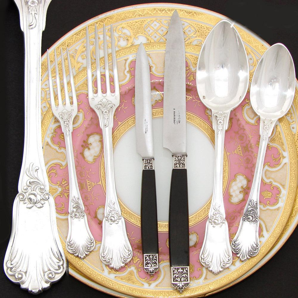 Exquisite Antique French Sterling Silver 72pc Flatware Set, Rococo Style, 6pc Setting