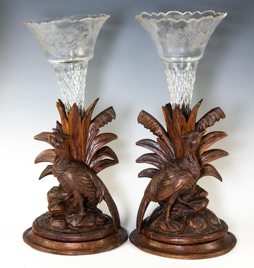 Pair: Antique Hand Carved Black Forest Pheasants, Epergne Stands with Crystal Flutes