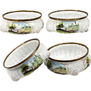 Pair: Antique Kiln-fired French Enamel Open Salts, Sevres, Scenes on White