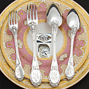 Superb Antique French PUIFORCAT Sterling Silver 48pc Flatware Set, Ornate Pattern