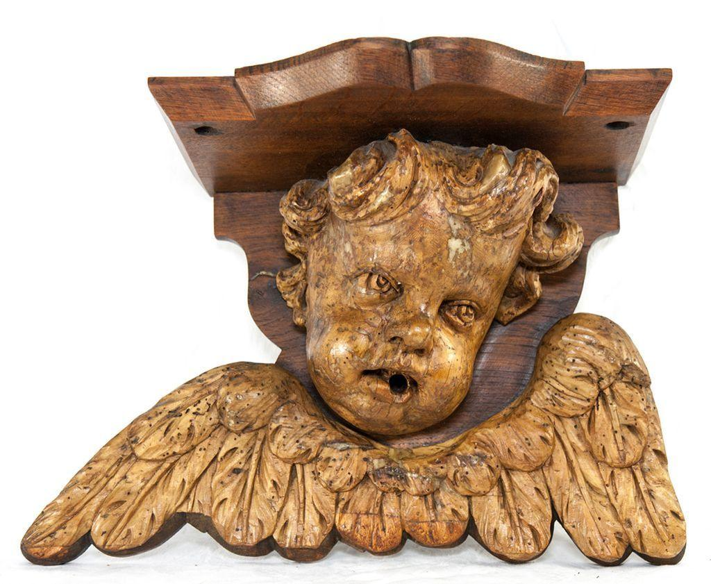 Antique 1600s Carved Angel, Putti & Wings, A Bracket Shelf