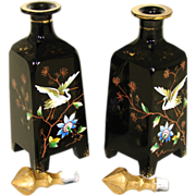 "LG Antique Bohemian Harrach Black Opaline 8.5"" Decanter or Perfume PAIR, Chinoiserie Style"