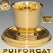 Antique to Vintage PUIFORCAT French Vermeil 18k Gold on Sterling Silver Egg Cup & Under Plate
