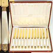Antique French 18k Gold Vermeil on Silver 12pc Dessert Knife Set, Orig. Box