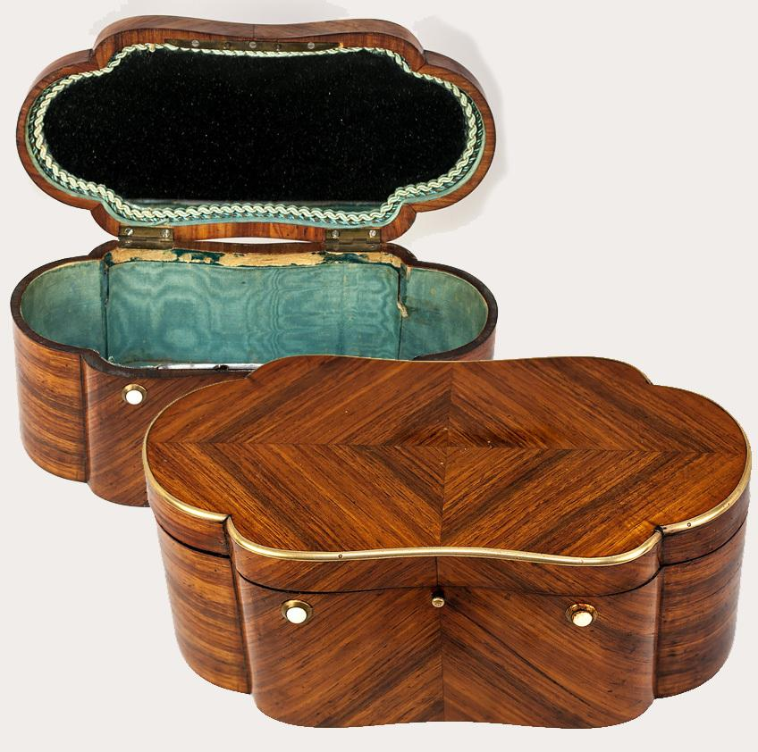 Antique French Jeweled Dressing or Sewing Box, Casket, Napoleon III Era, Kingwood & Mother of Pearl