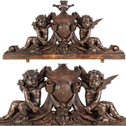 """Antique Hand Carved Putti Comprise Top of a Frame or Mirror or Cabinetry, 23.5"""" Long"""