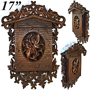 "Unique Antique Victorian Black Forest Wall Hanging 17"" Key Cabinet, Ornate Foliage"