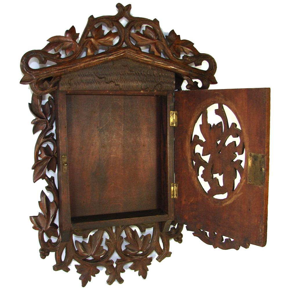 "Roll over Large image to magnify, click Large image to zoom - Unique Antique Victorian Black Forest Wall Hanging 17"" Key Cabinet"