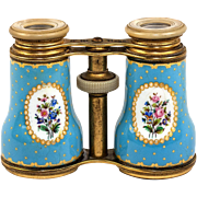 Large Antique French Kiln-Fired Enamel Opera Glasses, Celeste or Sevres Blue Floral, c.1870-1900