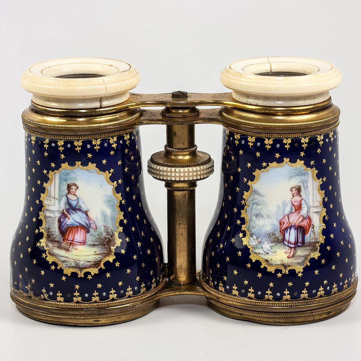Large Antique French Kiln-fired Enamel Opera Glasses, Binoculars, Cobalt Blue with Figures Painted, c. 1860-1900