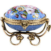 Fine Antique French Kiln-fired Enamel Jewelry Casket, Box in Egg Shape, Ormolu Frame