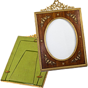 "Antique French Dore Bronze & Wood Frame, Bow Top & Appliqué,  8"" x 5.5"""